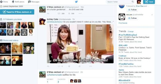 I tweeted my favorite gif of Ann Perkins from Parks & Rec holding waffles and he dug it. | @ashlemonade